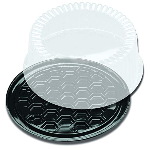 Displaycake Black 1-2 Layer Cake Display Container with Clear Dome Lid, 8 inch - 160 per case.