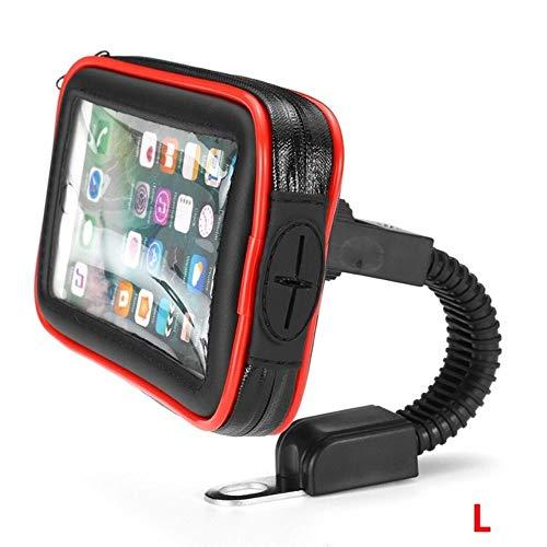 K-ONE Upgrade Impermeable Moto Moto Scooter Soporte para teléfono móvil Funda para iPhone XS MAX GPS Soporte 6.5 Pulgadas Soporte para Bicicleta, Rojo L