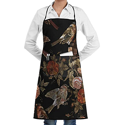 ASNIVI Kitchen Cooking Aprons for Women & man,Embroidery Birds And Birds Cage And Flowers Seamless Pattern,Apron with 2 Pockets ,Aprons for Home Kitchen, Restaurant Cooking, Coffee House, BBQ