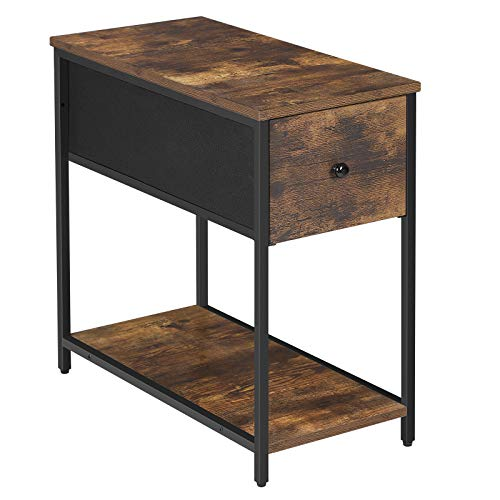 SONGMICS End Table, Sofa Side Table with Fabric Drawer and Shelf, Industrial Nightstand with Metal Frame, for Living Room, Rustic Brown and Black ULGS020B02