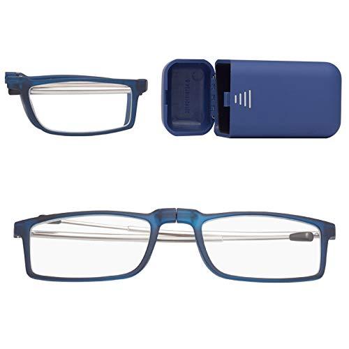 折りたたみ式老眼鏡 携帯用 コンタクト 持ち運び便利 ケース付き ブルーライトカット ユニセックス メンズ レディース おしゃれ 軽いリーディンググラス 度付き ブルー 度数+200 7025