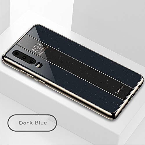 BELLA BEAR Glitter Case voor Huawei P30 plexiglas + vergulde zachte rubberen aansteker en meer anti-val telefoonhoesje voor Huawei P30, Huawei P30, Donkerblauw