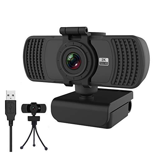 2k Webcam HD 1440P Con Microfono Stereo, Webcam PC Laptop Desktop Computer,Con Copertura Di Protezione Dei Dati e Treppiede, USB Webcam Per Lo Streaming Di Computer,Videochiamate, Conferenze,Studi