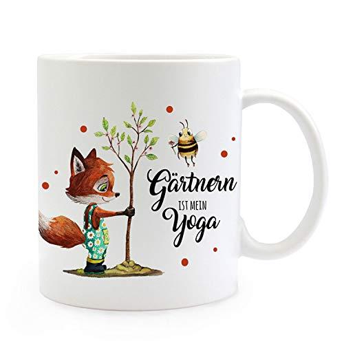 ilka parey wandtattoo-welt Tasse Becher Fuchs mit Hummel & Spruch Gärtnern ist Mein Yoga Kaffeebecher Geschenk Spruchbecher ts1025