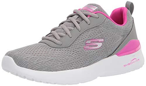 Skechers Women's Skech-Air Dynamight - Top Prize Sneaker, Gray/Hot Pink, 8 W