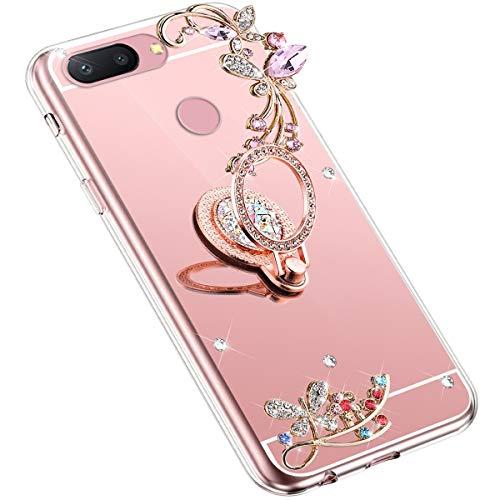 Uposao Kompatibel mit Xiaomi Mi 8 Lite Handyhülle Strass Diamant Bling Glitzer Spiegel Schutzhülle Mirror Case Schmetterling Blumen Silikon Hülle Tasche mit Ring Halter Ständer,Rose Gold