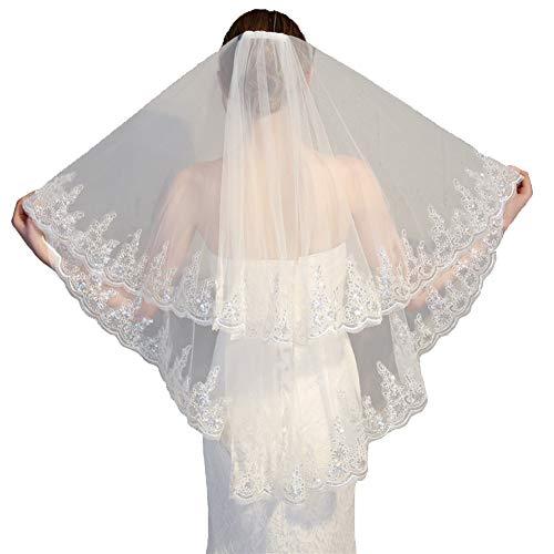 Rubyonly Dentelle de mariée pour femme mariée voile courte 2 niveaux Mariage de mariée avec voile peigne,Beige,2T