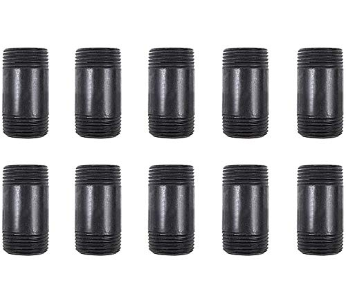GOOVI 3/4 Inches x 2 Inches Black Malleable Steel Pipe Fitting, 3/4 Inches Black Pipe Threaded Pipe Nipples, Build Vintage DIY Shelving Steampunk Furnitur, 10 Pack.