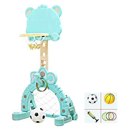 LQH Stehen Kinder Basketball Einstellbare Höhe 100-130cm Kind spielt Spielzeug beweglichen Entwurf Indoor Outdoor Basketballkorb 3 Farben Optional, Blau (Color : Blue)