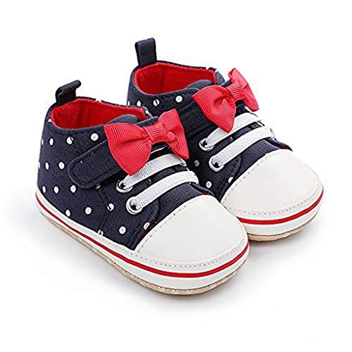 Geagodelia Scarpe Neonata Neonato Scarpine da Passeggio Unisex Scarpe Bambini Antiscivolo con Suola Morbida Sneakers Bimba con Fiocco Scarpe Primi Passi 0-12Mesi (Blu, 6-9 Mesi) …