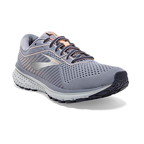 Brooks Womens Ghost 12 Running Shoe - Granite/Peacoat/Peach - B - 8.0
