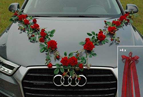 Rosen Girlande Braut Paar Rose Deko Dekoration Autoschmuck Hochzeit Car Auto Wedding ®Auto-schmuck Deko PKW (Exclusive Rot)