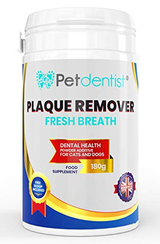 Petdentist Fresh Breath Plaque Remover for Dogs and Cats Dental Care Promotes Dog Teeth Cleaning and Takes Tartar Plaque Off Dogs Easily Best for Dog Bad Breath and Gingivitis Made in UK-180g Powder