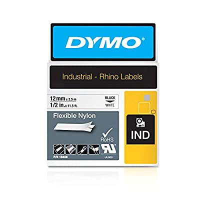 """DYMO Authentic Industrial Labels for LabelWriter and Industrial Label Makers, Black on White, 1/2"""", 1 Roll (18488), DYMO Authentic"""