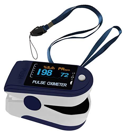 Pulsoximeter Oximeter Fingeroximeter Pulox PO-200 Solo Dunkelblau Set mit Trageband zur Feststellung der Blut-Sauerstoffsättigung