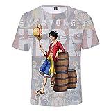 SSRSHDZW Camisetas de manga corta impresas Unisex Luffy ACE 3D Impreso Inspirado Comic Una Pieza Adolescentes Anime T Shirt,A106,S
