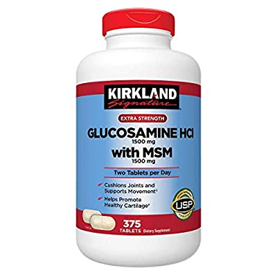 Kirkland Signature Extra Strength Glucosamine HCI 1500mg, With MSM 1500 mg, Super Size Value Package 375-Tablets by Kirkland Signature