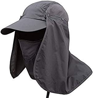 Go2buy Men & Women Outdoor Sun Hat Fishing Hiking Hat with Face Neck Flap Protection Cover Removable UPF 50+ Sun Cap (Dark Grey)