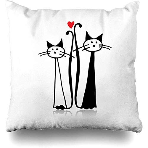 xububaihuodian Your Fun Couple Cat Sketch Whisker Pussycat Text Wedding Abstract Art Funda de cojín para decoración del hogar, tamaño cuadrado, 45,7 x 45,7 cm, diseño de