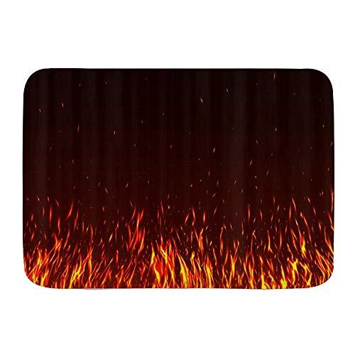 AoLismini Tapis de Bain Tapis de Salle de Bain, thème de feu de Passion brûlant de Belles Flammes Rouges et Jaunes, Tapis de décor de Salle de Bain en Peluche avec Support antidérapant