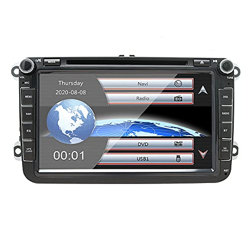 NVGOTEV Autoradio navigatore GPS compatibile per VW golf, 17,8 cm double DIN Head Unit 2 DIN autoradio con lettore CD DVD supporto GPS, USB, SD, FM AM RDS, Bluetooth (8 pollici)