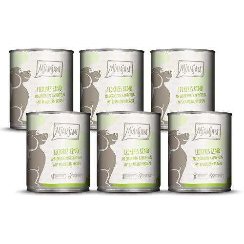 MjAMjAM - Premium Nassfutter für Hunde - leckeres Rind an gekochten Kartoffeln mit knackigen Erbsen, 6er Pack (6 x 800 g), getreidefrei mit extra viel Fleisch