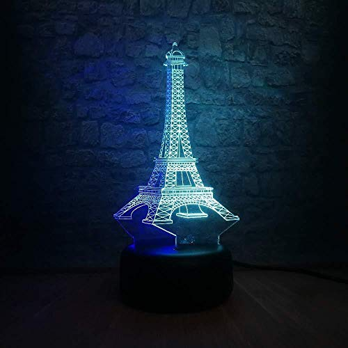 Luz nocturna 3D Torre Eiffel Amante mixto s 7 colores Sensor Decoración de la habitación Luces del dormitorio Luces de noche LED para niños Niños Bebé