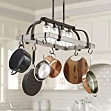 Marsden Bronze Gray Wood Rectangular Pot Rack Pendant Chandelier 36' Wide Rustic Farmhouse Clear Seedy Glass 4-Light Fixture for Dining Room House Island Entryway Living Room - Franklin Iron Works