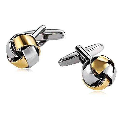 Anyeda Edelstahl Manschettenknöpfe für Männer Manschettenknöpfe Silber Buchstaben Atemberaubende Liebe Knoten Silber Gold 1.4 * 1.4Cm