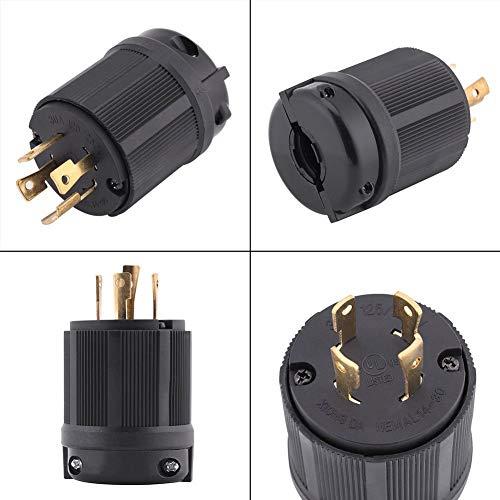 L14-30P 30 Amp Plug Generator 125/250 VAC 3 Pole 4W 4 Prong NEMA Twist Lock Male Receptacle Plug 3 Pole Industrial Grade