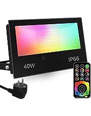 Foco LED RGB de Colores, cambio de color RGBW equivalente a 400 W, modo estroboscópico de bricolaje, 120 colores, temporización, RGB 2700K blanco cálido, IP66 a prueba de agua
