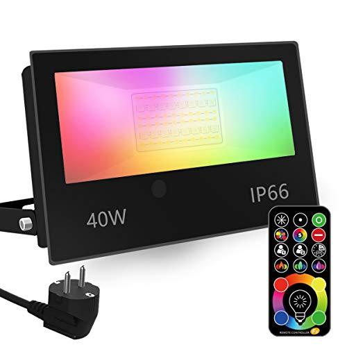 Faretto Led, equivalente a 400 W, cambio colore Rgbw modalità strobo fai-da-te, 120 colori, esterno 4000 lumen, Rgb bianco caldo, impermeabile Ip66