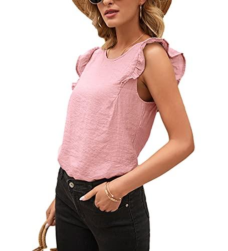 Tops Mujer Verano Cuello Redondo Mangas De Loto Versión Suelta Plisada Mujer Camisa Personalidad Casual Transpirable Diseño Exquisito Colocación Elasticidad Única Mujer Blusa F-Pink XL