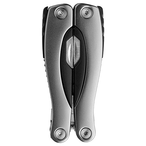 Schwarzwolf outdoor Multitool, Mini, 13 Werkzeuge, Neoprentasche, rostfreier Stahl, Marke, Produkt Pony grau