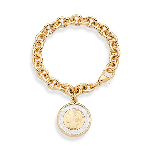 Miabella 18K Gold over Bronze Italian Genuine 500-Lira Coin Charm Rolo Link Chain Bracelet for Women Made in Italy
