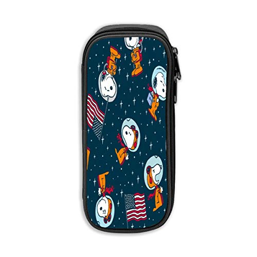 Pencil Case Snoopy in Space Pen Case with Double Zippers Big Capacity for Office and School Supplies