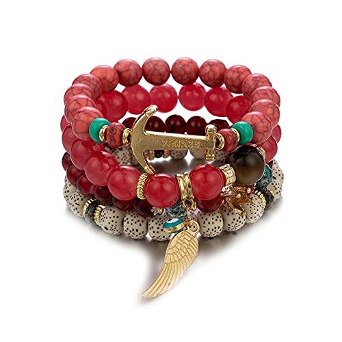 1 pulsera para mujer, con cuentas de varias capas, color rojo, bohemio, nacional, velero, ancla, corona, accesorios