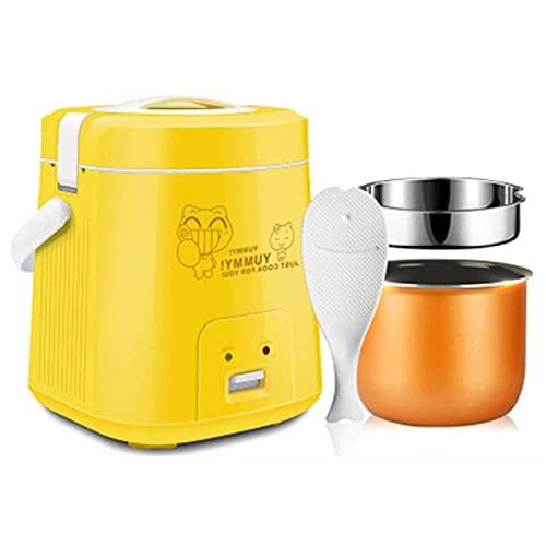 Mini Cuociriso 1.8L Vaporiera Elettrica con Rivestimento Antiaderente,per La Famiglia del Dormitorio Studentesco,Piccoli Elettrodomestici,Rosa,Yellow