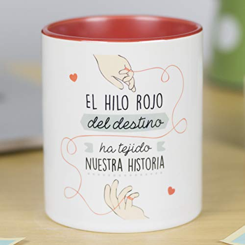 La Mente es Maravillosa - Taza con frase de amor y dibujo romántico (El hilo rojo del destino ha tejido nuestra história) Regalo para San Valentín