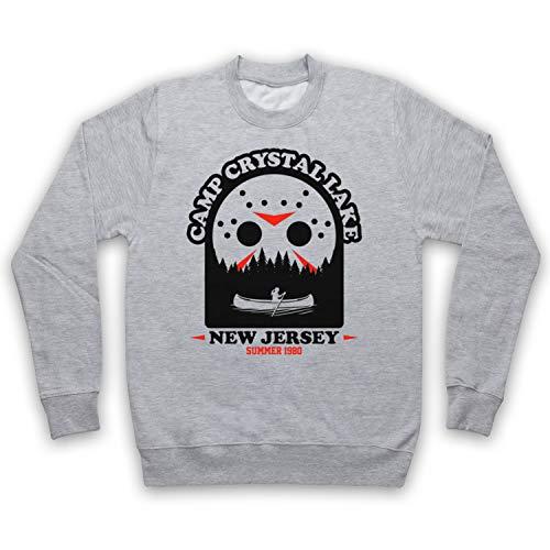 My Icon Art & Clothing Friday 13th Camp Crystal Lake 1980 Jason Voorhees Mask Erwachsenen Sweatshirt, Grau, XL