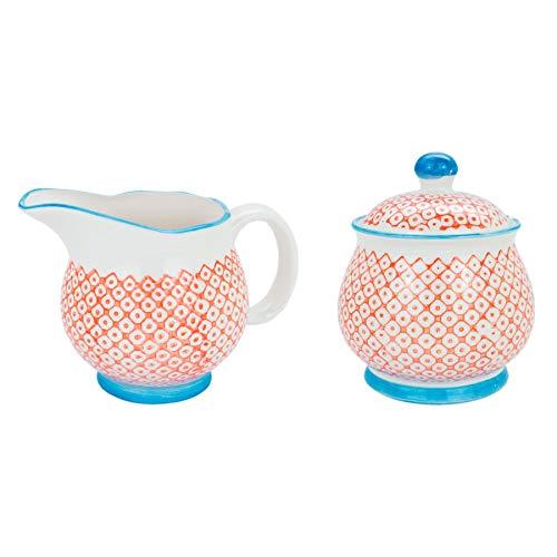 Nicola Spring Ensemble de Pot à Lait à Motifs de 300 ML et de Pot/Bol à Sucre - Impression Orange/Bleue