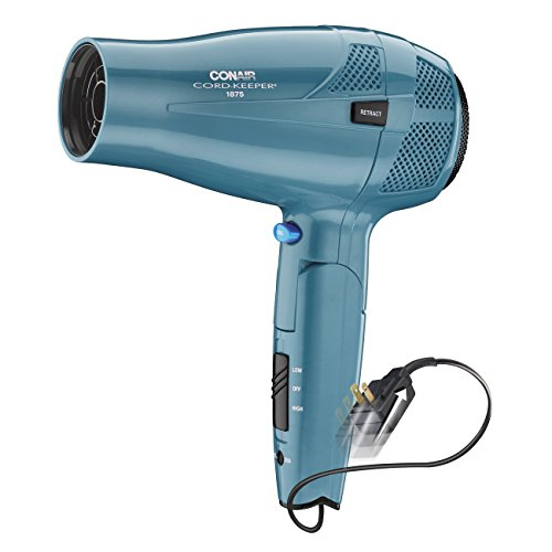 Conair 1875 Watt Cord Keeper Travel Hair Dryer with Folding Handle and Retractable Cord Teal, Blue