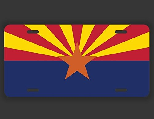 JMM Ind. Arizona State Flag AZ Vanity Novelty License Plate Tag Metal Car Truck 12-Inches by 6-Inches UV Resistant Print UVP007