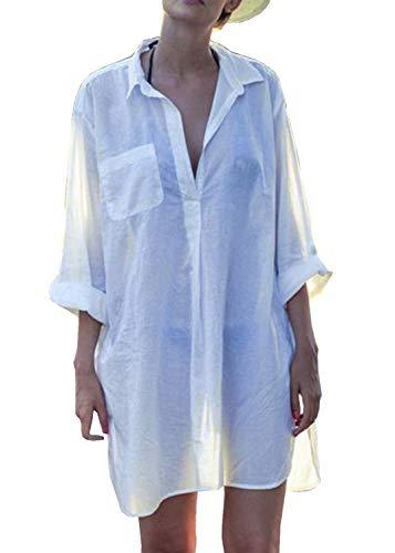 PANAX Leicht transparentes Damen Sommer Cover-Up in Weiß - Blusenkleid mit V-Ausschnitt in 8 Farbvarianten für Urlaub, Strand, Pool, Garten