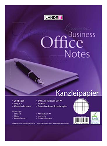 LANDRE 100050620 Kanzleipapier Office 250 Kanzleibogen rautiert 80 g/m² holzfreies Papier - Ideal für Schule und Büro