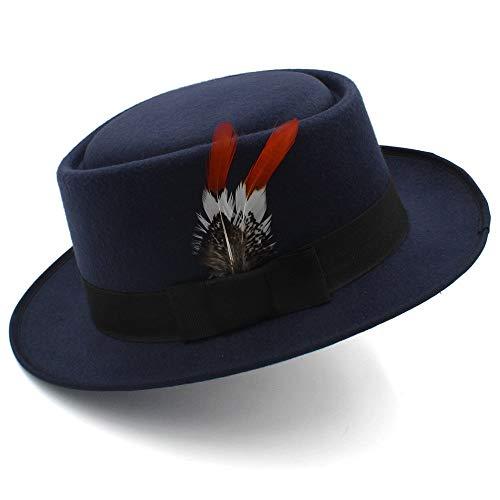 No-branded HOUJHUS Sombrero de Copa de Lana Sombrero de Jazz británico for Hombre Sombrero de Plumas de Caballero Sombrero Fedora Otoño e Invierno (Color : Azul Oscuro, Size : 56-58cm)