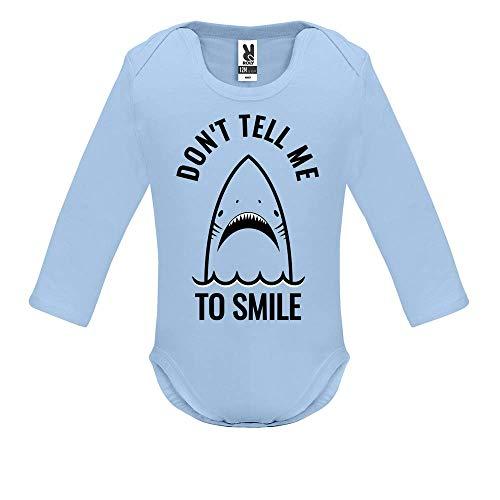 Body bébé - Manche Longue - Don t Tell me to Smile - Bébé Garçon - Bleu - 18MOIS