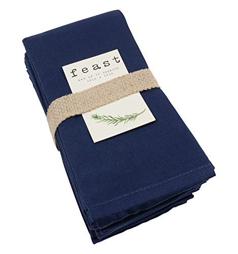 KAF Home Feast Dinner Napkins   Set of 12 Oversized, Easy-Care, Cloth Napkins (18 x 18 Inches) - Blue