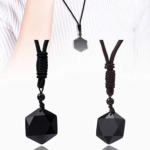 NULINULI Amuleto De Hexagrama Sagrado, Collar con Colgante De Forma De Hexagrama De Piedra De Obsidiana Negra Natural. 2 Piezas