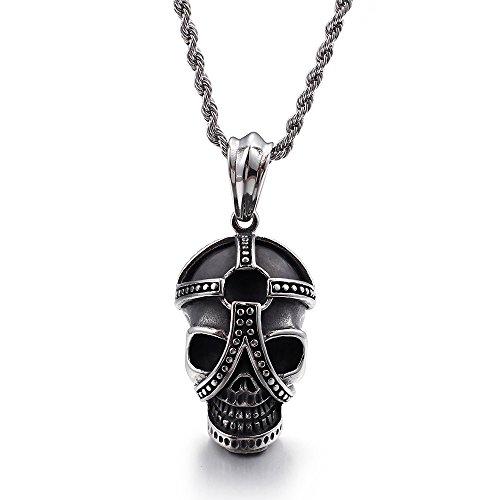 lalopez exagerado cráneo colgantes collares de los hombres colgante de acero inoxidable